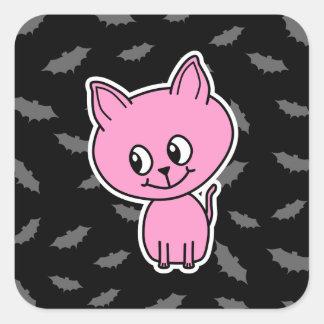 Gato e bastões cor-de-rosa adesivo em forma quadrada