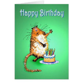 gato e bolo de aniversário e velas loucos, humor, cartão comemorativo