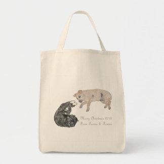Gato e cão junto sacola tote de mercado