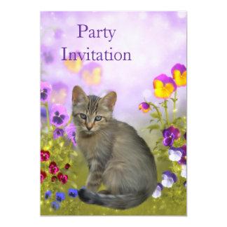 Gato e flores do convite