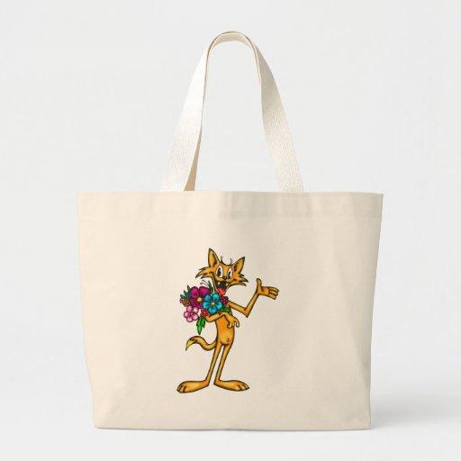Gato e flores dos desenhos animados bolsa para compra