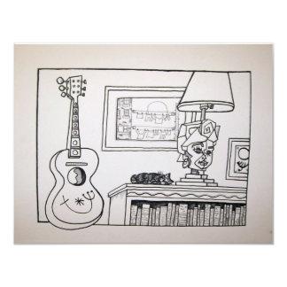 Gato e lâmpada da guitarra por Piliero Convite 10.79 X 13.97cm