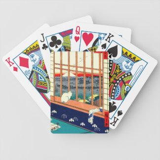 Gato e Monte Fuji 1857 Baralho Para Poker