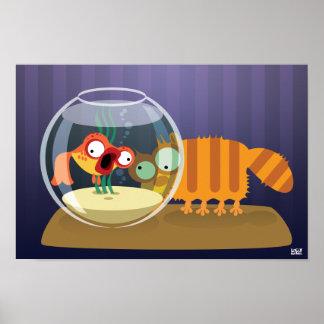 Gato e peixes engraçados poster