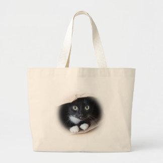 Gato em um saco bolsa tote grande