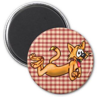 Gato engraçado brincalhão dos desenhos animados ímã redondo 5.08cm