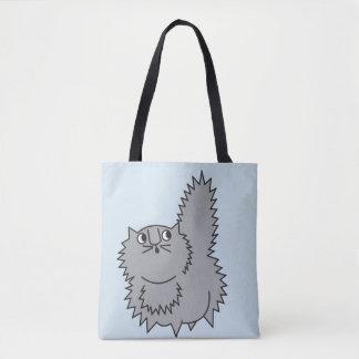 Gato engraçado do bolsa cinzento macio do gatinho