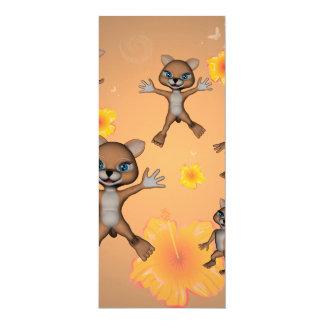 Gato engraçado dos desenhos animados convite 10.16 x 23.49cm