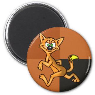 Gato engraçado dos desenhos animados da cara ímã redondo 5.08cm