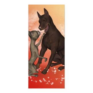 Gato engraçado e o cão convite 10.16 x 23.49cm