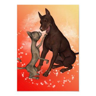 Gato engraçado e o cão convite 12.7 x 17.78cm