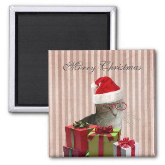 Gato engraçado na moda do papai noel do Natal Imas De Geladeira