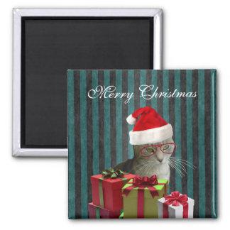Gato engraçado na moda do papai noel do Natal Imãs
