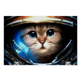 Gato engraçado no poster do capacete de espaço pôster