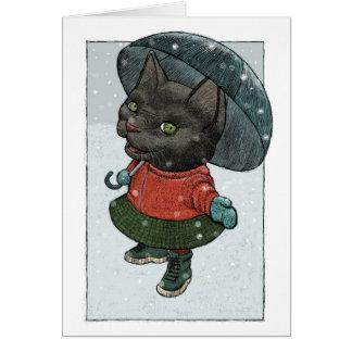 Gato feliz com o cartão de Natal do guarda-chuva