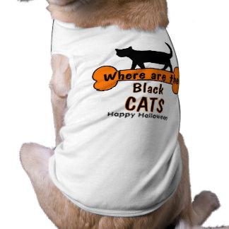 Gato feliz do Dia das Bruxas Camisa Sem Mangas Para Cachorro