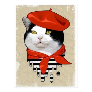 gato. Francês Cartão Postal