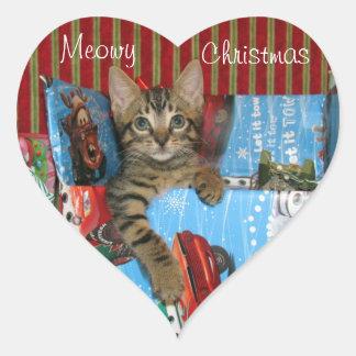 Gato, gatinho, Natal, salvamento, foto Adesivo Coração