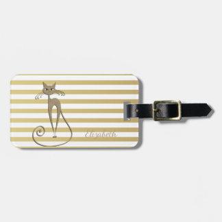 Gato Glittery do ouro chique elegante do falso em Etiqueta De Bagagem