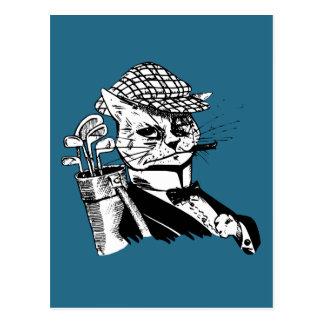 gato golfing engraçado cartão postal