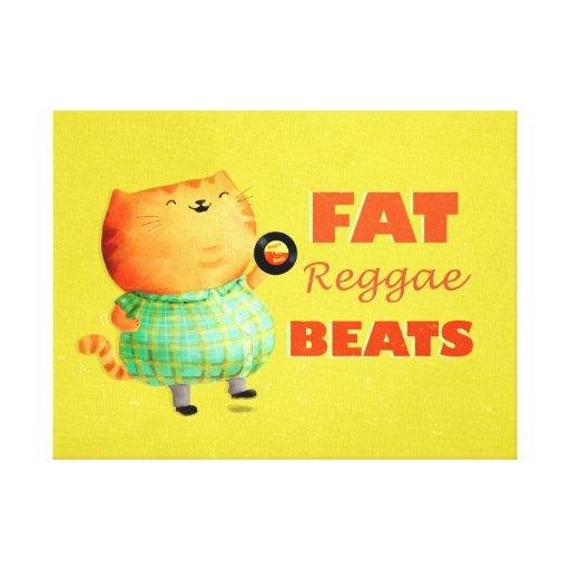 Gato gordo gordo gordo da reggae impressão de canvas esticada