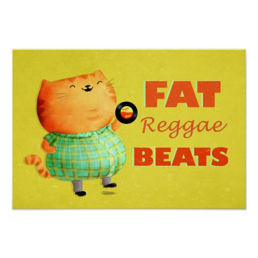 Gato gordo gordo gordo da reggae pôsteres