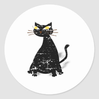 Gato gordo preto afligido adesivo