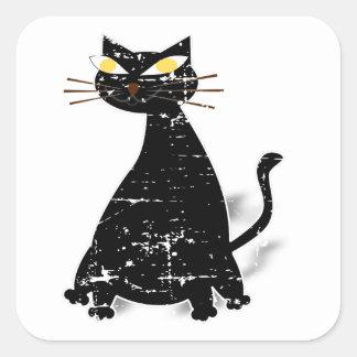 Gato gordo preto afligido adesivo quadrado