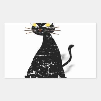 Gato gordo preto afligido adesivo retangular