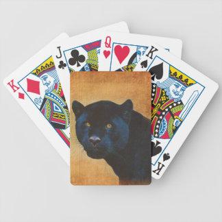Gato grande dos animais selvagens pretos legal da baralho de poker