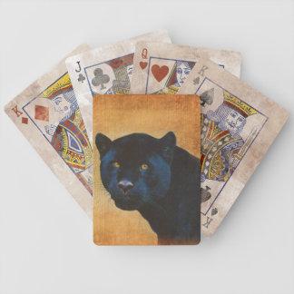 Gato grande dos animais selvagens pretos legal da baralhos de pôquer