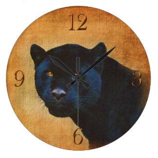 Gato grande dos animais selvagens pretos legal da relógio de parede