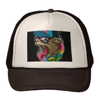 gato legal com chapéu dos fones de ouvido boné