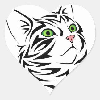 Gato listrado 1 do gatinho adesivo coração