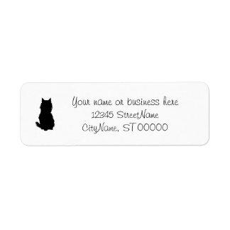 Gato macio etiqueta endereço de retorno