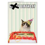 Gato mal-humorado - cartão do feliz aniversario
