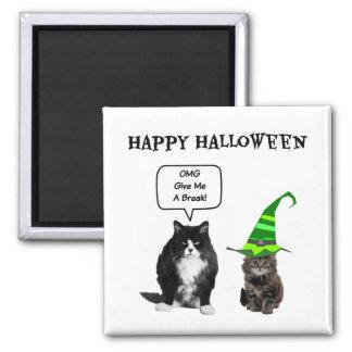 Gato mal-humorado do Dia das Bruxas/ímã bonito do Ímã Quadrado