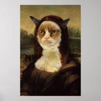 Gato mal-humorado Mona Lisa Pôster