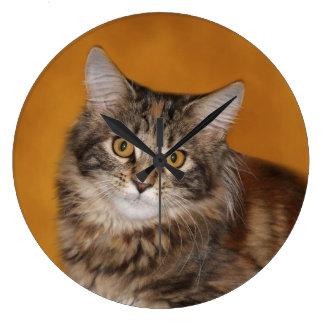 Gato malhado de Brown Relógio Grande