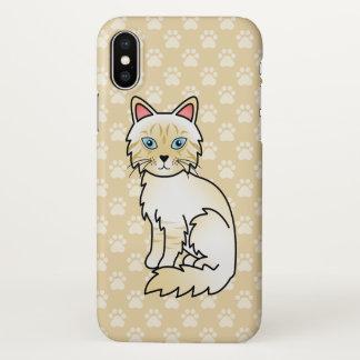 Gato malhado de creme Birman do ponto/desenho gato Capa Para iPhone X