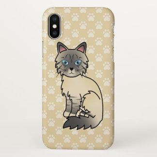 Gato malhado de prata Birman/desenho dos desenhos Capa Para iPhone X