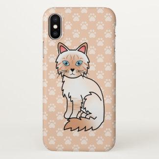 Gato malhado vermelho Birman do ponto/desenho gato Capa Para iPhone X