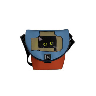 Gato na caixa bolsas mensageiro