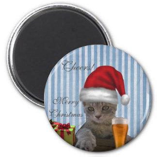 Gato na moda engraçado do papai noel do Natal com Imas