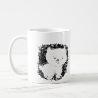 Gato no branco caneca do clássico de 11 onças