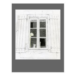 Gato no cartão da janela