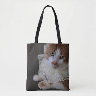 Gato no colar laçado bolsas tote