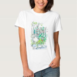 Gato no esboço da aguarela da caneta e da tinta do t-shirt