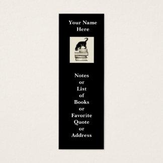Gato no mini marcador dos livros a personalizar cartão de visitas mini