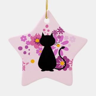 Gato no ornamento cor-de-rosa da estrela das